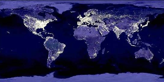 Earth at night, light pollution is not the right way to keep earth beautiful